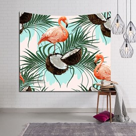 Tropical Coconut and Flamingos Decorative Hanging Wall Tapestry