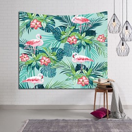 Flamingos and Tropical Plants Foliage Pattern Decorative Hanging Wall Tapestry