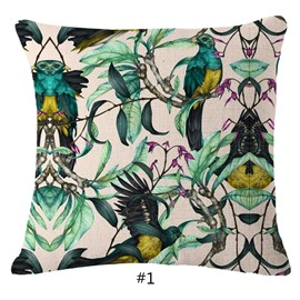 Hand-Painted Tropical Birds and Foliage Plants Linen Throw Pillowcases