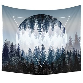 Creative Foggy Mountains and Forest Decorative Hanging Wall Tapestry