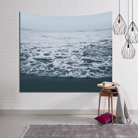 Crashing Sea Waves Cloudy Day Decorative Hanging Wall Tapestry
