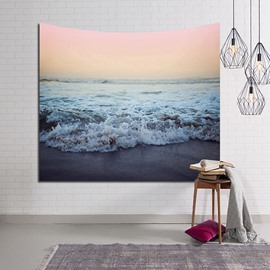 Sunset Crashing Sea Waves Decorative Hanging Wall Tapestry