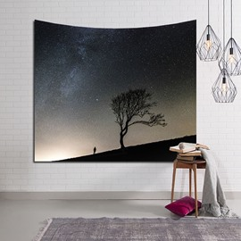 Lonely Tree and Man Twinkle Galaxy Stars Decorative Hanging Wall Tapestry