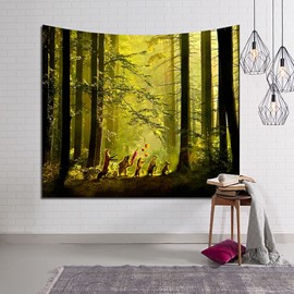Peaceful Paradise Vibes Forest Design Decorative Hanging Wall Tapestry