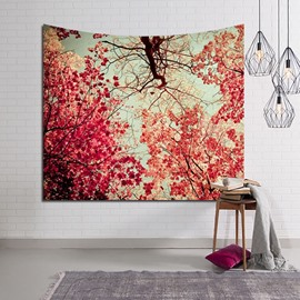 Autumn Maple Trees and Red Leaves Decorative Hanging Wall Tapestry
