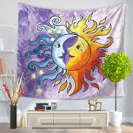 Celestial Cute Sun and Moon Face Decorative Hanging Wall Tapestry