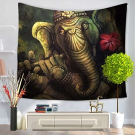Stone Carving Bronze Elephants Pattern Ethnic Style Black Decorative Hanging Wall Tapestry