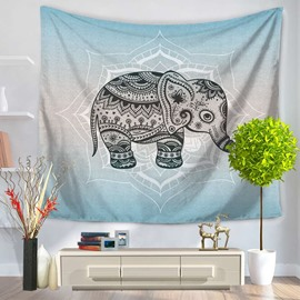 Cute Little Elephant with Mandala Pattern Bohemia Style Decorative Hanging Wall Tapestry