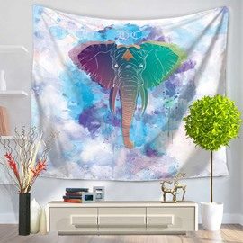 Colorful Elephant Head Watercolor Painting Decorative Hanging Wall Tapestry