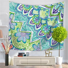 Simple Flowers and Leaves Ethnic Style Decorative Hanging Wall Tapestry