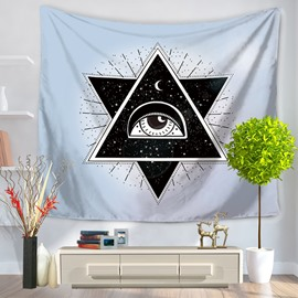 Crossed Triangle Eye and Galaxy Space and Moon Twinkle Decorative Hanging Wall Tapestry