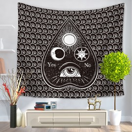 Water Drop Shape with Eye Sun and Moon Inside Pattern Decorative Hanging Wall Tapestry