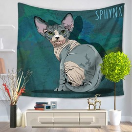 Watercolor Sphynx Cat with Big Ears Pattern Green Decorative Hanging Wall Tapestry