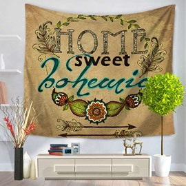 Home Sweet Bohemia Letters and Arrows Pattern Decorative Hanging Wall Tapestry