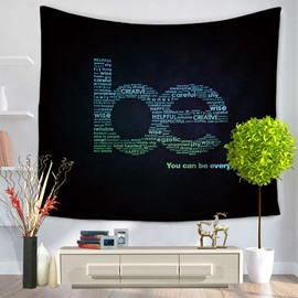Various White Letters Making Be Shape Black Decorative Hanging Wall Tapestry