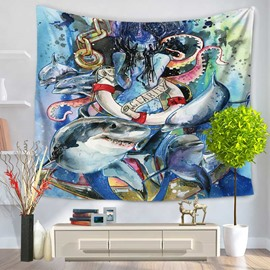 Sharks and Octopus Demon Sea World Decorative Hanging Wall Tapestry