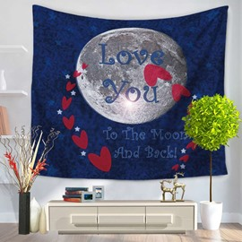 Earth with Love You Letters and Red Heart Blue Decorative Hanging Wall Tapestry