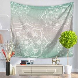 White Lotus Pattern Gradient Green Decorative Hanging Wall Tapestry