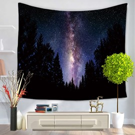 Magical Dark Forest and Galaxy Space Pattern Decorative Hanging Wall Tapestry