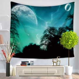Forest and Galaxy Lightning Sky Pattern Decorative Hanging Wall Tapestry