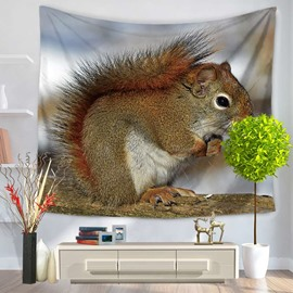 Red Squirrel Hiding Himself Pattern Decorative Hanging Wall Tapestry