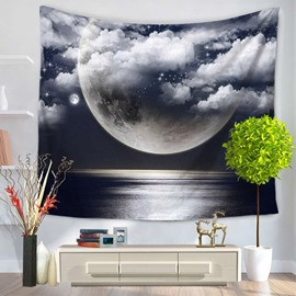 Sea Level and Moon Clouds Galaxy Night Decorative Hanging Wall Tapestry