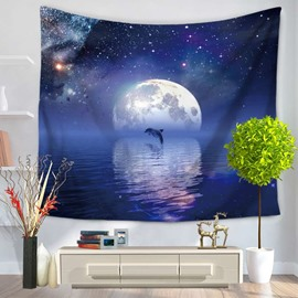Dolphin Jumping and Sea Moon Galaxy Sky Decorative Hanging Wall Tapestry