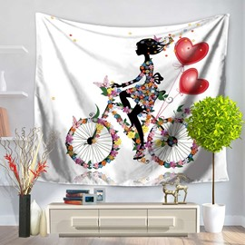 Floral Fairy Riding Bicycle with Heart Shape Balloon Decorative Hanging Wall Tapestry