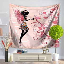 Floral Fairy with Butterflies Wings Charming Pattern Pink Decorative Hanging Wall Tapestry