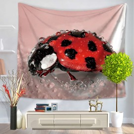 Red Seven Spotted Ladybugs Insects and Water Decorative Hanging Wall Tapestry