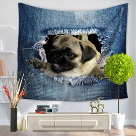 Bug Dog Waving and Big Ripped Jeans Decorative Hanging Wall Tapestry