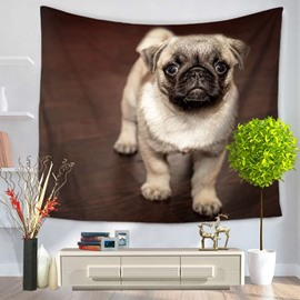 Cute Pug Dog Pattern Brown Decorative Hanging Wall Tapestry