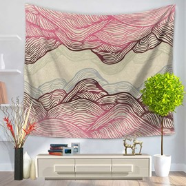 Abstract Pink Ripple Mountain Shape Decorative Hanging Wall Tapestry