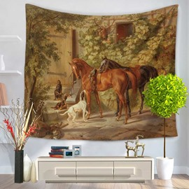 Dogs and Horses Playing Village Courtyard Pattern Decorative Hanging Wall Tapestry