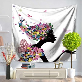 Floral Dressing Hair Girls Kissing Right and Butterflies Pattern Decorative Hanging Wall Tapestry