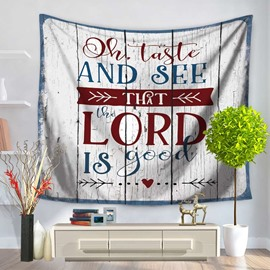 Denim Blue and Letters Vintage Style Decorative Hanging Wall Tapestry