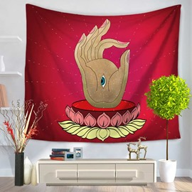 Buddha Palm and Eye Pattern Red Decorative Hanging Wall Tapestry