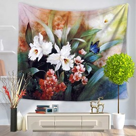 Flowers Blossom and Blue Butterfly Pattern Decorative Hanging Wall Tapestry