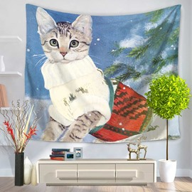 Cute White Cat and Basket Pattern Decorative Hanging Wall Tapestry