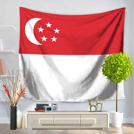 Singapore National Flag Design Decorative Hanging Wall Tapestry