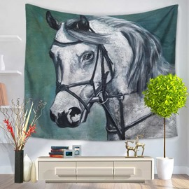 Handsome White Horse Pattern Green Decorative Hanging Wall Tapestry
