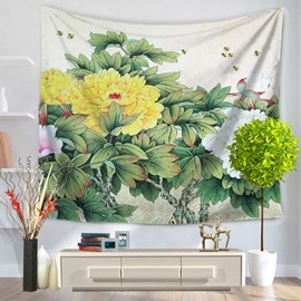 Floral Yellow and White Chrysanthemum and Green Leaves Decorative Hanging Wall Tapestry
