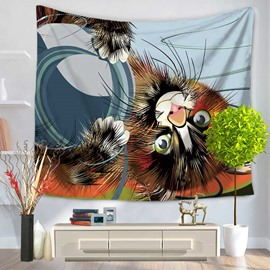 Vividly Brown Cat and A Bowl Decorative Hanging Wall Tapestry