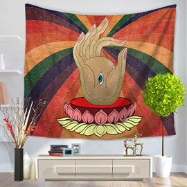 Buddha Palm and Lotus Creative Pattern Decorative Hanging Wall Tapestry
