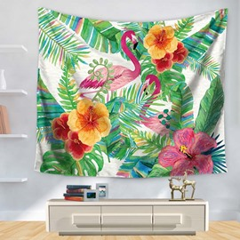 Flamingo and Tropical Plants Decorative Hanging Wall Tapestry