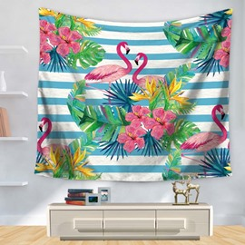 Flamingo and Tropical Plants Blue Stripes Decorative Hanging Wall Tapestry