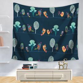 Cartoon Birds and Trees Joyful Decorative Hanging Wall Tapestry