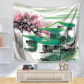 Chinese Jiangnan Watertown Green Roof Pink Sakura Pattern Decorative Hanging Wall Tapestry