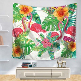 Floral Style Flowers and Green Leaves with Flamingo Pattern Decorative Hanging Wall Tapestry