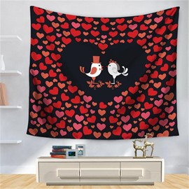 Red Heart Couple Birds Sweet Love Pattern Decorative Hanging Wall Tapestry